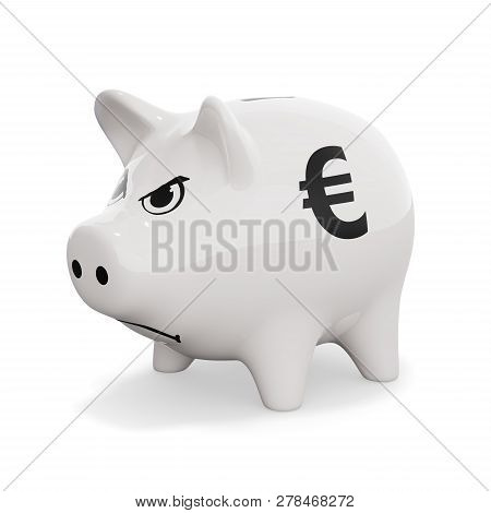 Piggy Bank For Euro Savings Is Angry. 3d Illustration