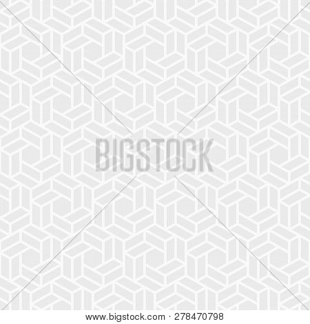 Abstract Seamless Pattern. Modern Stylish Texture. Repeating Geometric Tiles Of Hexagons. White And