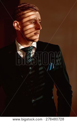 Style concept. Young man dressed in classy style. Formal style and fashion. The style is the man himself. poster