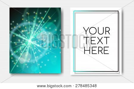 Night Banner Flyers With Sparks Glitter Glowing, Star Burst Explosion Glow And Lens Flare On Blue Gr