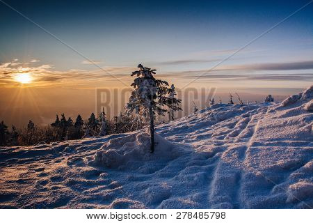 Morning Sunrise On The Top Of Mountain.