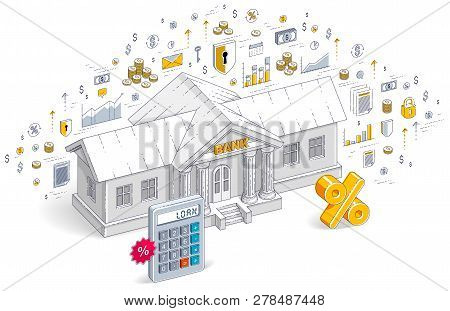 Credit Concept, Bank Building With Calculator And Percent Symbol Isolated On White Background, Banki