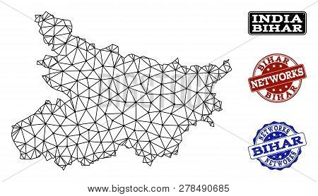 Black Mesh Vector Map Of Bihar State Isolated On A White Background And Grunge Stamp Seals For Netwo