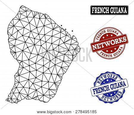 Black Mesh Vector Map Of French Guiana Isolated On A White Background And Grunge Stamp Seals For Net
