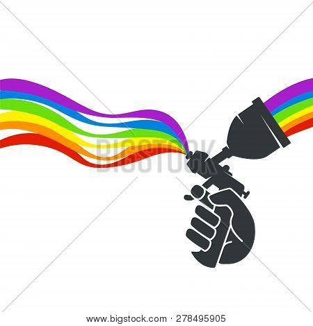 Spray Painting In Hand Vector Symbol Logo