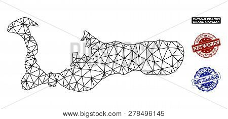 Black Mesh Vector Map Of Grand Cayman Island Isolated On A White Background And Scratched Stamp Seal