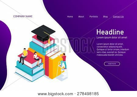 Concept Of Web Site Main Page With Isometric Concept Of E-learning. Landing Page Design With Isometr