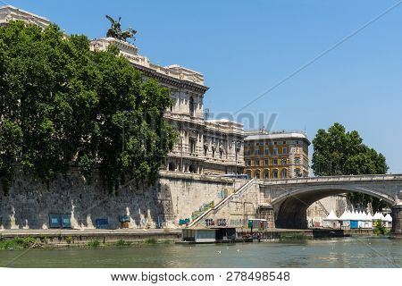Rome, Italy - June 22, 2017: Building Of The Supreme Court Of Cassation And Tiber River In City Of R