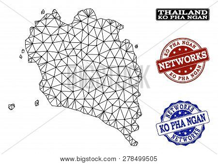 Black Mesh Vector Map Of Ko Pha Ngan Isolated On A White Background And Rubber Watermarks For Networ