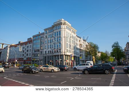 Berlin Germany - April 20. 2018: City Street In The Charlottenburg District Of Berlin