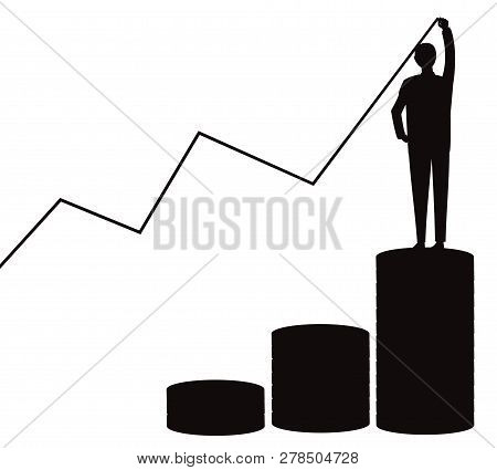 Vector Illustration. Business Economic Financial Concept. Businessman Standing On Pile Of Coins Stac