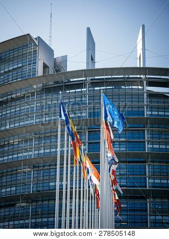 Strasbourg, France - June 6, 2018: All European Union Members States Flags In Front Of European Parl