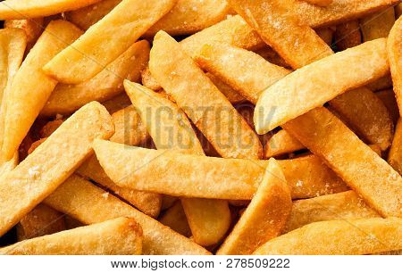 Flat Lay View Of Steak French Fried Pommes Or Chips