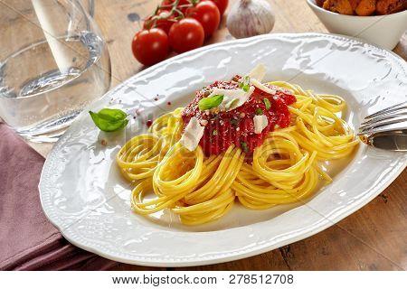 Plate Of Spaghetti Bolognaise Or Bolognese