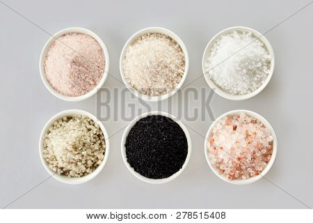 Six Assorted Gourmet Salts In Bowls