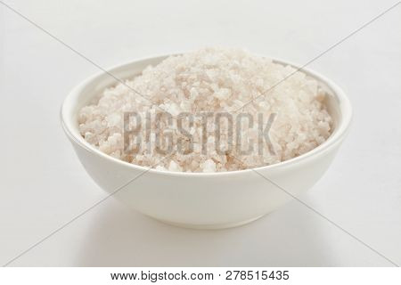 Dish Of Ground Himalaya Salt Over White