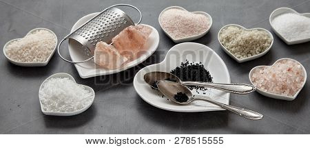 Panorama Banner Of A Variety Of Culinary Salts