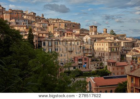 PERUGIA, ITALY - AUGUST 15, 2018: Cityscape of Perugia. The city covers a high hilltop and part of the valleys around the area, and its history goes back to the Etruscan period