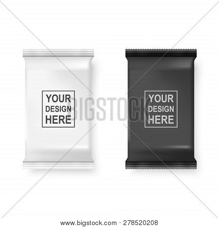 Vector Realistic 3d White And Black Wet Wipes Package Icon Set Closeup Isolated On White Background.