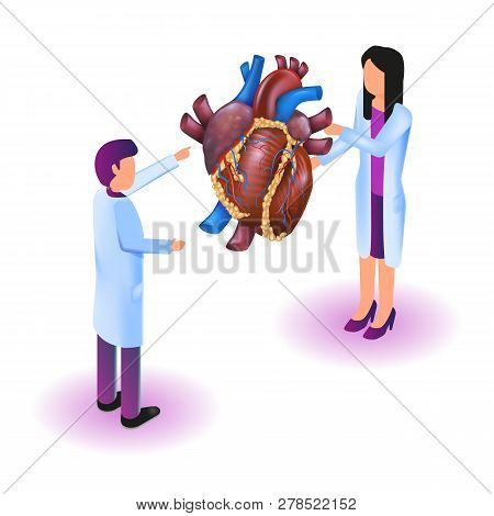 Isometric Image Virtual Reality In Medicine In 3d. Vector Illustration Doctor Studying Heart Disease
