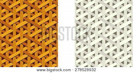 Seamless Weave Rattan Pattern, Flat Vector Art Design