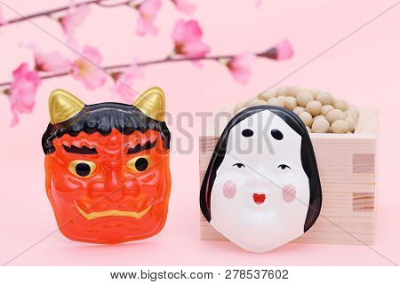 Japanese Traditional Event, Soybeans And Mask Of Demon Are Used On An Annual Event /setsubun.