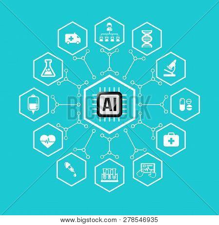 Ai Artificial Intelligence Technology For Health Care And Medical Concept Icon Set In Hexagon Shape