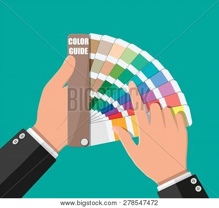 Color Swatch. Color Palette Guide In Hand. Colorful Scale. Rainbow Tool For Designer, Photographer,