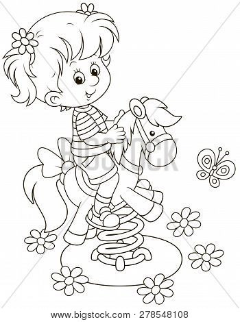 Smiling Girl On A Toy Horse Swing On A Playground, Black And White Vector Illustration In A Cartoon