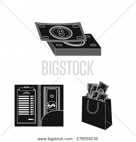 Isolated Object Of Cash And Currency Logo. Set Of Cash And Stack Stock Vector Illustration.