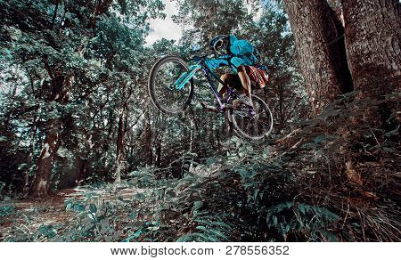 Moscow, Russia - August 18, 2018: Jump And Fly On A Mountain Bike. Rider In Action At Mountain Bike