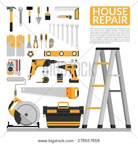 Set Of Diy Home Repair Working Tools Vector Logo Design Template. Home Repair Banner, Construction ,