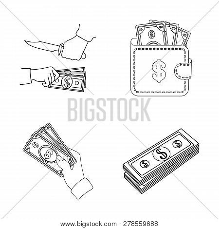 Vector Design Of Cash And Currency Logo. Collection Of Cash And Stack Vector Icon For Stock.