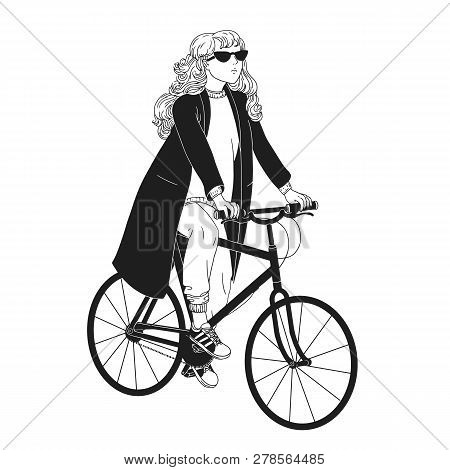 Monochrome drawing of pretty young woman riding bicycle. Girl dressed in trendy apparel sitting on bike hand drawn with black contour lines on white background. Female bicyclist. Vector illustration. poster