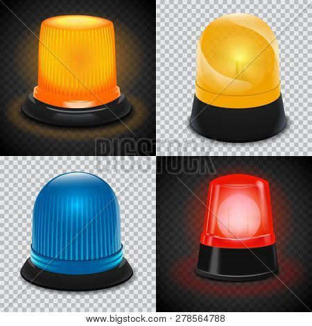 Attention Flasher Icon Set. Realistic Set Of Attention Flasher Icons For Web Design
