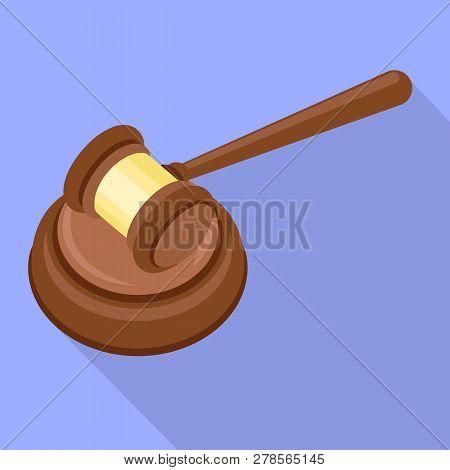 Judge Gavel Icon. Flat Illustration Of Judge Gavel Icon For Web Design