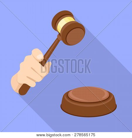 Judge Gavel Decision Icon. Flat Illustration Of Judge Gavel Decision Icon For Web Design