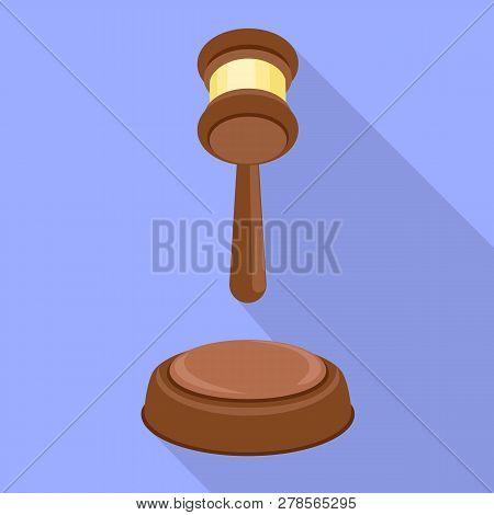 Judge Hammer Decision Icon. Flat Illustration Of Judge Hammer Decision Icon For Web Design