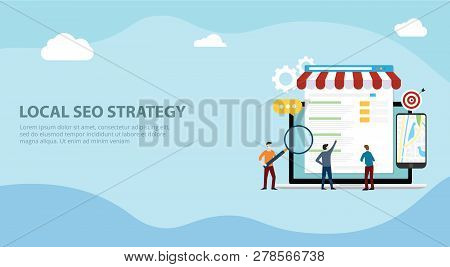 Local Seo Market Strategy Business Search Engine Optimization Website Design Landing Page Ui With Te