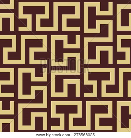Seamless Background For Your Designs. Modern Vector Brown And Golden Rnament. Geometric Abstract Pat