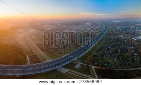 Cityscape With Highway And Stadion In Wroclaw During Sunrise.