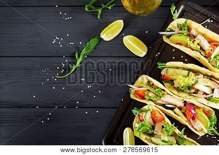 Mexican Tacos With Chicken Meat, Avocado, Tomato, Cucumber And Red Onion. Healthy Tortilla. Wrap Foo