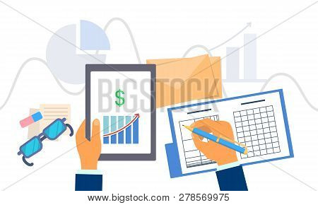 Accounting Work Concept Background. Flat Illustration Of Accounting Work Concept Background For Web