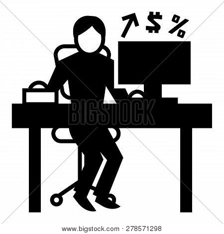 Man Office Accounting Icon. Simple Illustration Of Man Office Accounting Icon For Web Design Isolate