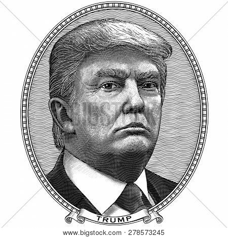 January 14, 2019. Donald Trump. Oval Frame Portrait Of The President Of Usa. Black And White Vector