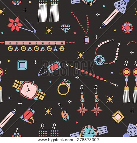 Seamless pattern with stylish jewelry items on black background - earrings, choker, bracelet, brooch, gemstones, ring, wristwatch. Vector illustration in linear style for wrapping paper, fabric print. poster