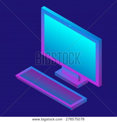 Desktop Computer Icon. Isometric Of Desktop Computer Icon For Web Design Isolated On White Backgroun