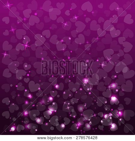 Abstract Purple Background For Valentine Day. Vector Illustration. Shapes Of Herts.