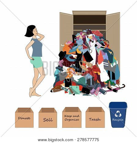 Vector Illustration With A A Woman And A Big Messy Pile Of Useless, Old, Cheap, And Oumoded Cothes.