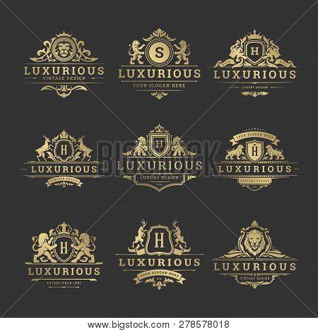 Luxury Logos Monograms Crest Design Templates Set Vector Illustration.